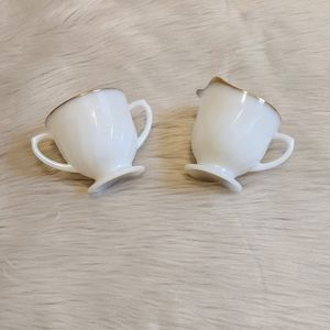 Vintage Fire King white & gold cream & sugar bowls